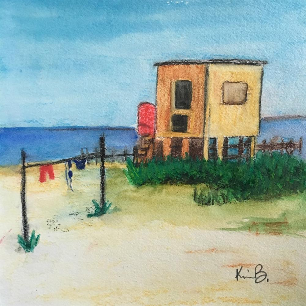 """Beach Hut"" original fine art by Kimberly Balentine"
