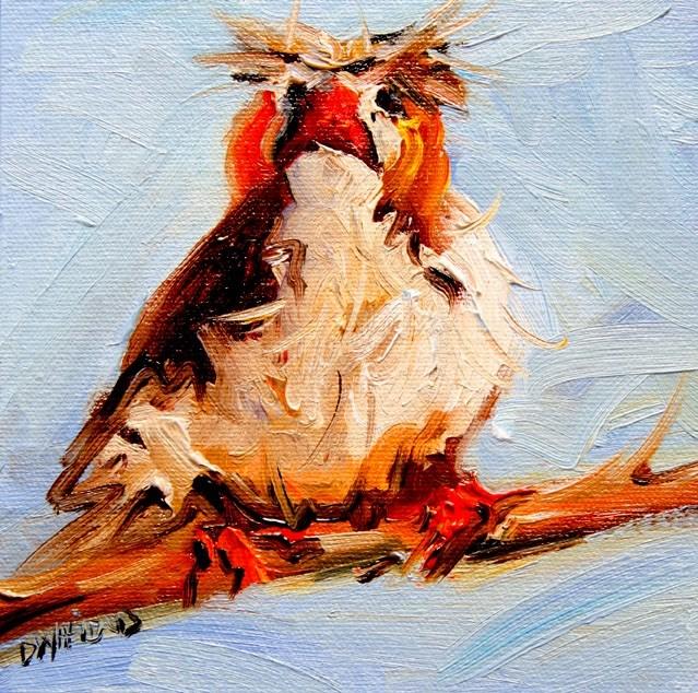 """ARTOUTWEST Bird face Diane Whitehead Fine Art Oil Painting original"" original fine art by Diane Whitehead"