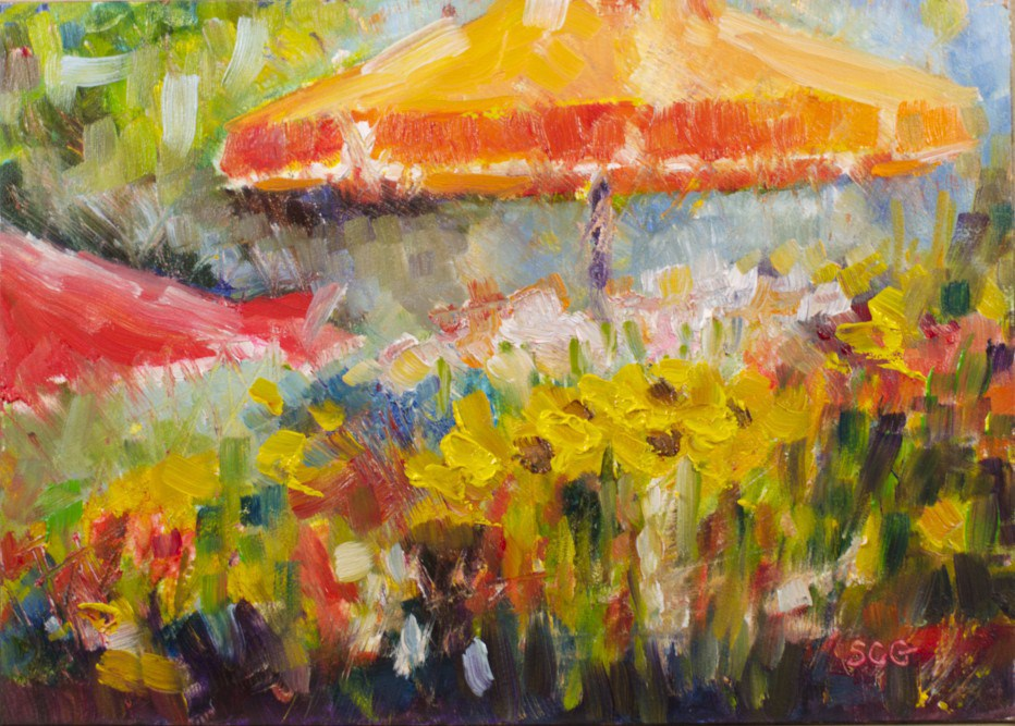 """Flower Market"" original fine art by Sue Churchgrant"