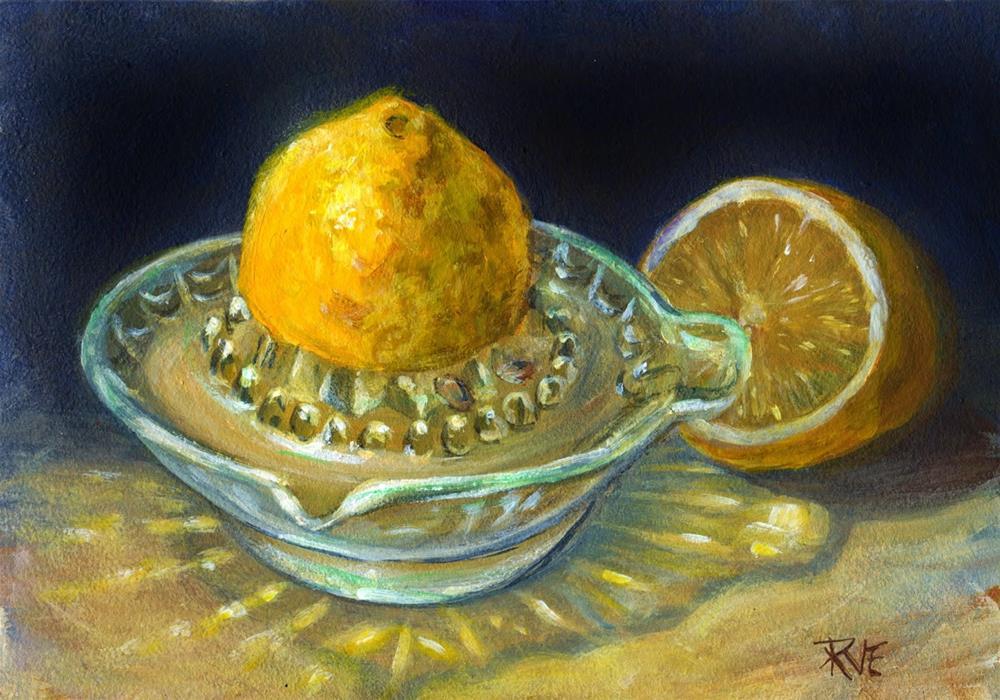 """Lemon and juicer"" original fine art by Ruth Van Egmond"