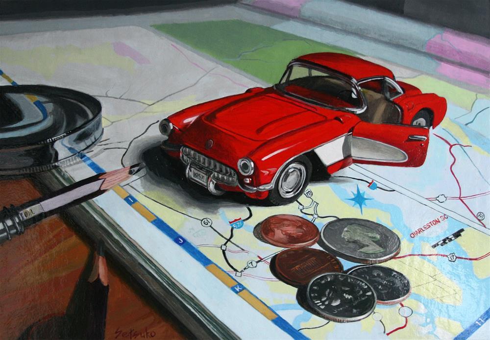 """""""Corvette"""" original fine art by Setsuko Lawson"""