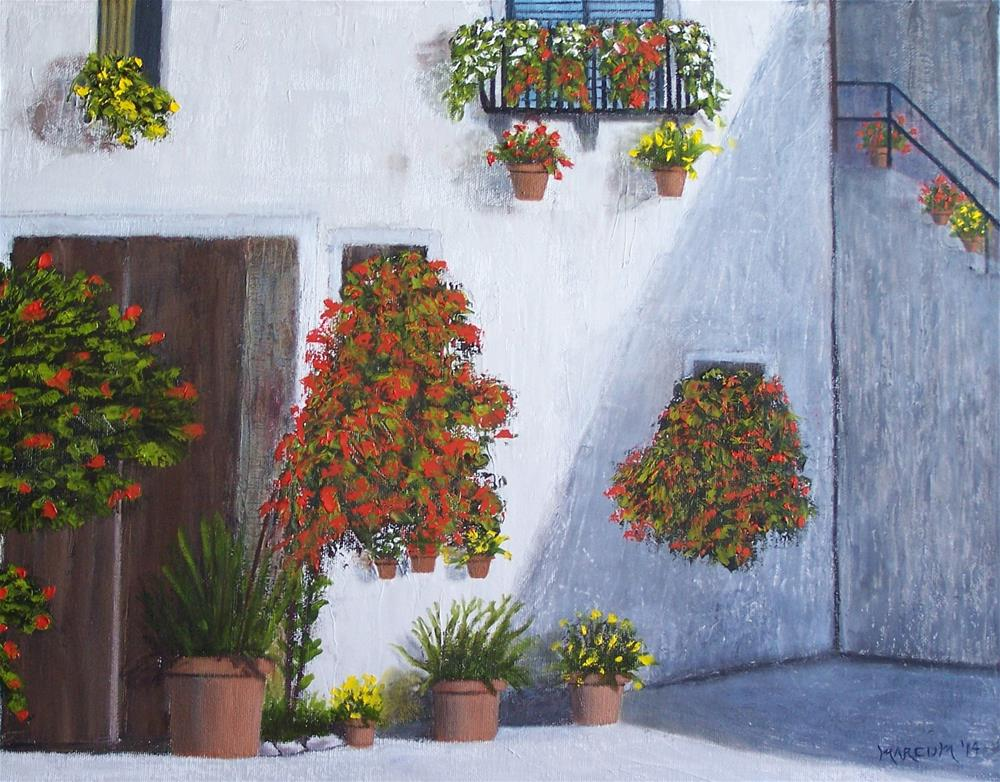 """Wall of Flowers"" original fine art by John Marcum"