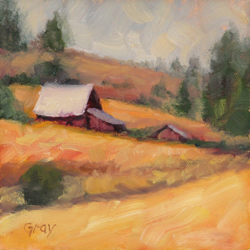 """Barns in the Golden Field"" original fine art by Naomi Gray"