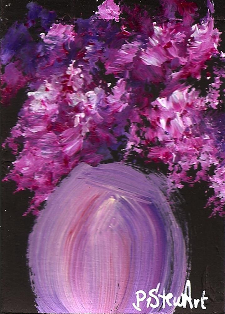 """""""ACEO - Hot Pinks - Fuschia's, rose colored lilacs and flowers in a round vase"""" original fine art by Penny Lee StewArt"""