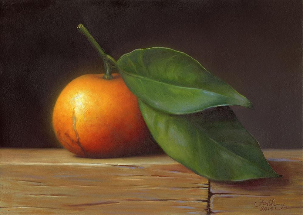 """Satsuma Orange with Leaves"" original fine art by Faith Te"