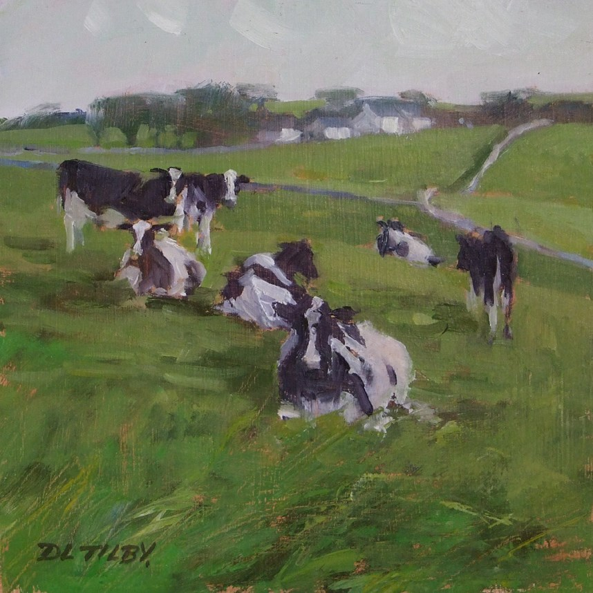 """Cows on the Hill"" original fine art by Deborah Tilby"
