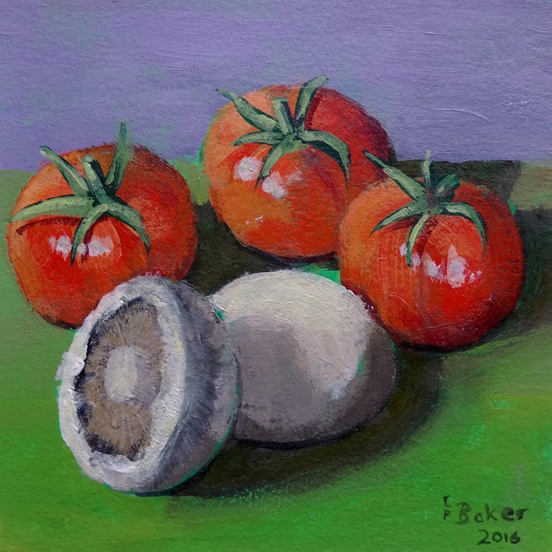 """""""Still life with tomatoes and mushrooms"""" original fine art by Lindsay Baker"""