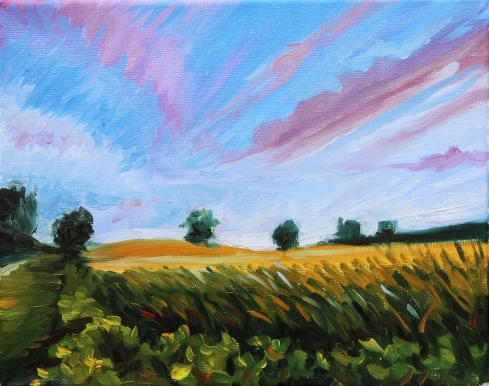 """Study of farm field at approaching dusk"" original fine art by Hilary J. England"