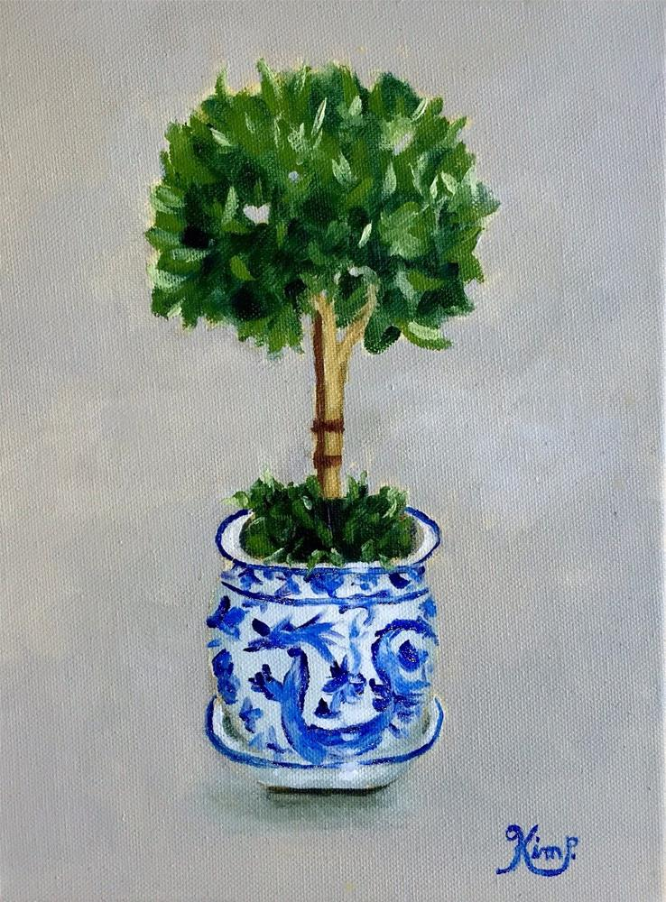 """Topiary in Blue and White Pot"" original fine art by Kim Peterson"