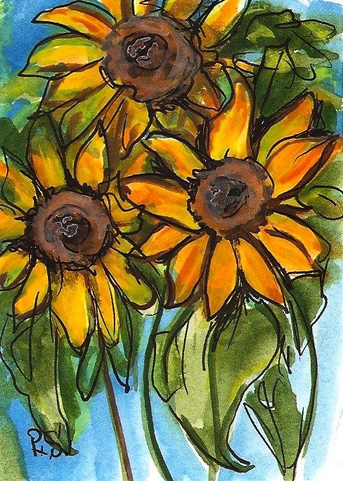 """ACEO Three Sunflowers Illustration Painting Stylized Watercolor Penny StewArt"" original fine art by Penny Lee StewArt"