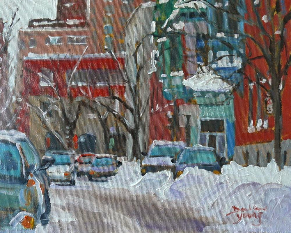 """826 Montreal Winter Scene, McGill Ghetto, Green's, 8x10, oil"" original fine art by Darlene Young"