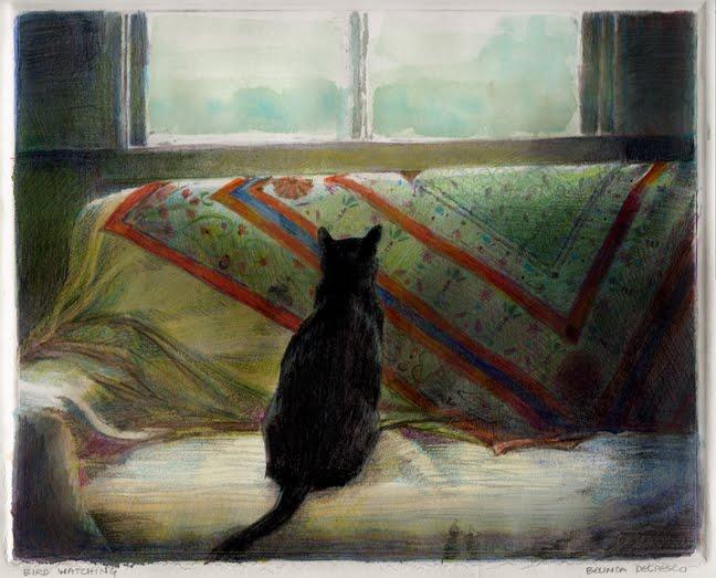 """Monotype: Bird Watching (& a ribbon from Thousand Oaks Artwalk)"" original fine art by Belinda Del Pesco"