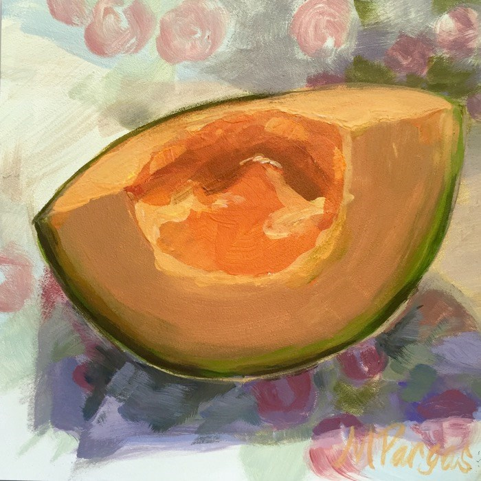 """Morning Melon"" original fine art by Mary Pargas"