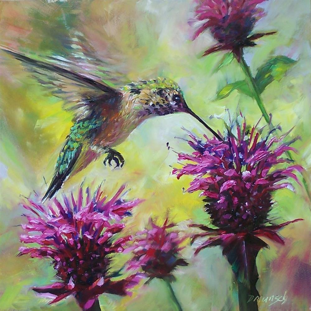 """""""Hummingbird Bee Bop"""" original fine art by Donna Munsch"""