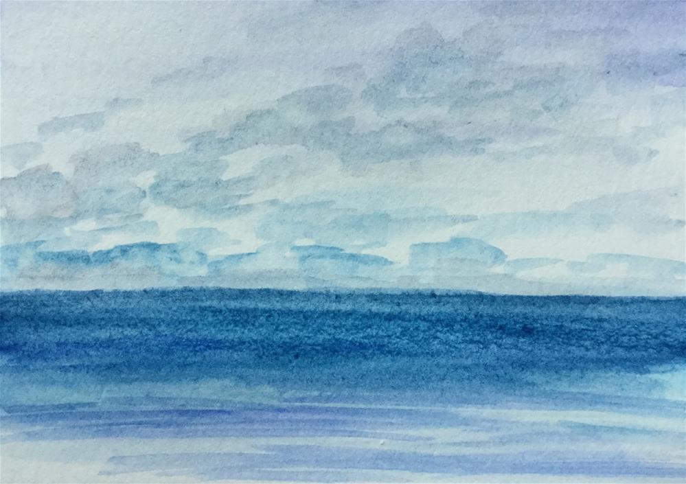 """6078 - SEA AND SKY ACEO"" original fine art by Sea Dean"