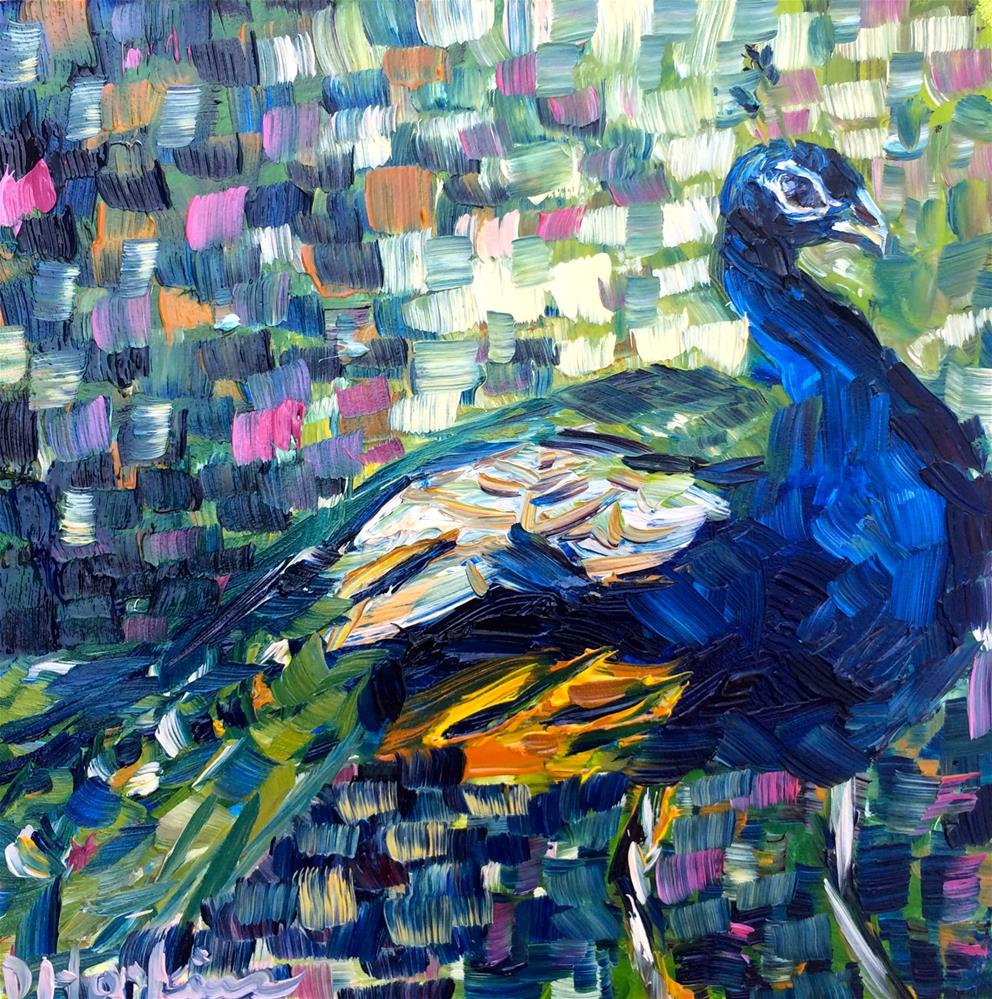 """peacock 2"" original fine art by Denise Hopkins"