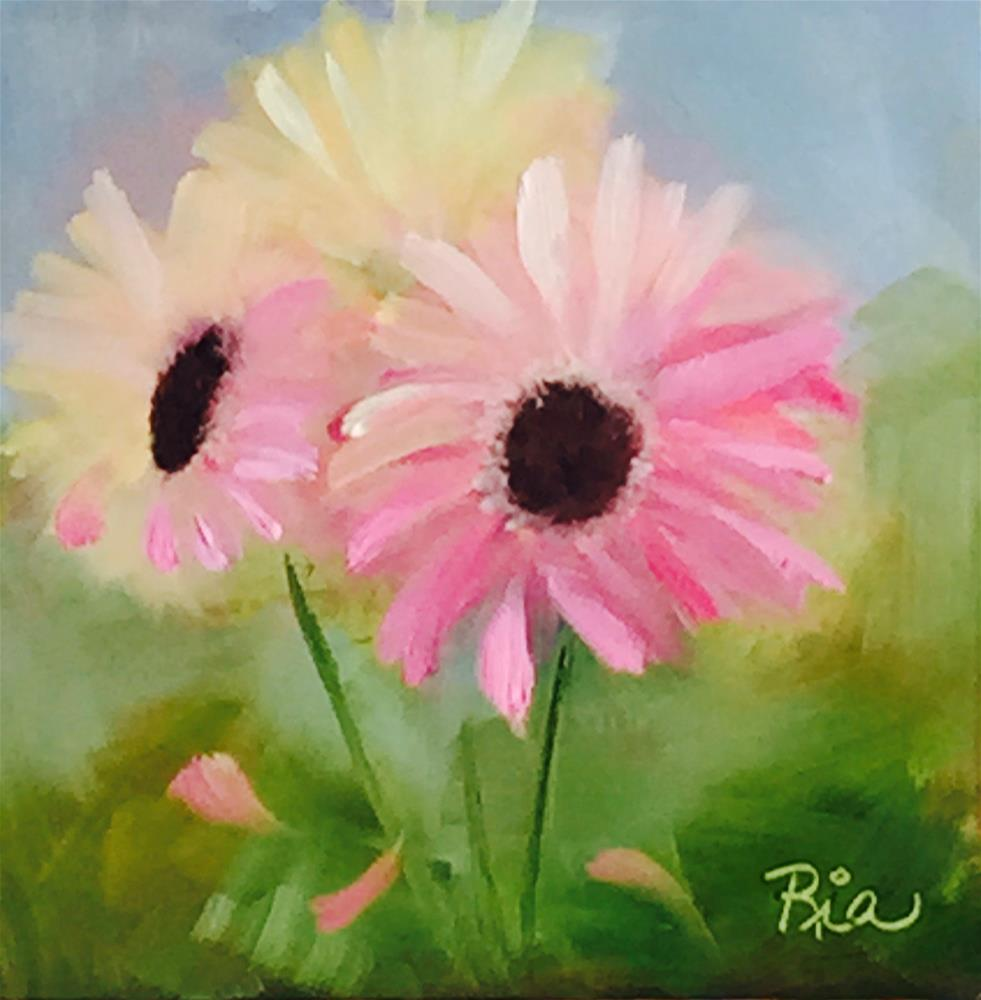"""Pink Daisies"" original fine art by Maria Reed"