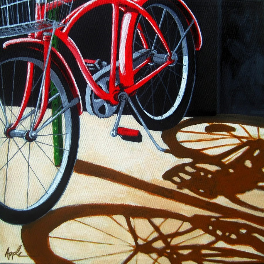 """Red Bicycle in the shadows bike art original painting by Linda Apple"" original fine art by Linda Apple"