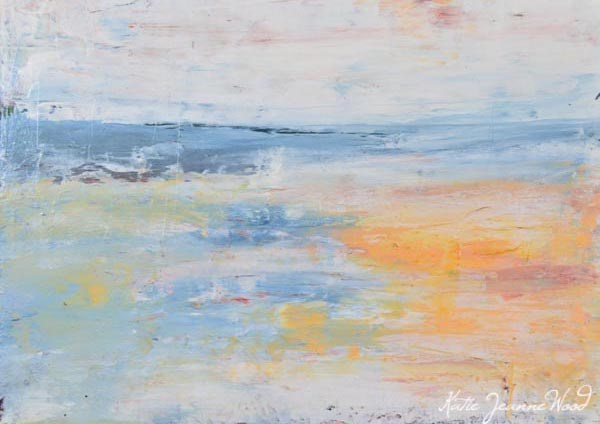 """Blue and yellow landscape painting. Art By Katie Jeanne. The Edge."" original fine art by Katie Jeanne Wood"