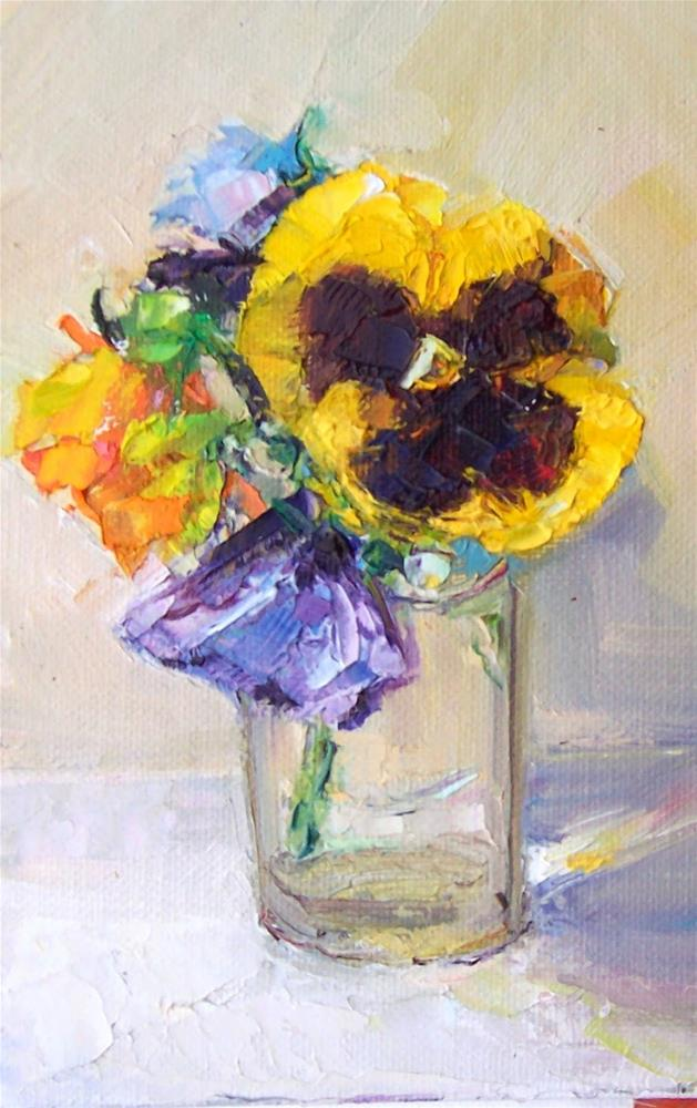 """Pansies in Glass,still life,oil on canvas,7x5,price$200"" original fine art by Joy Olney"