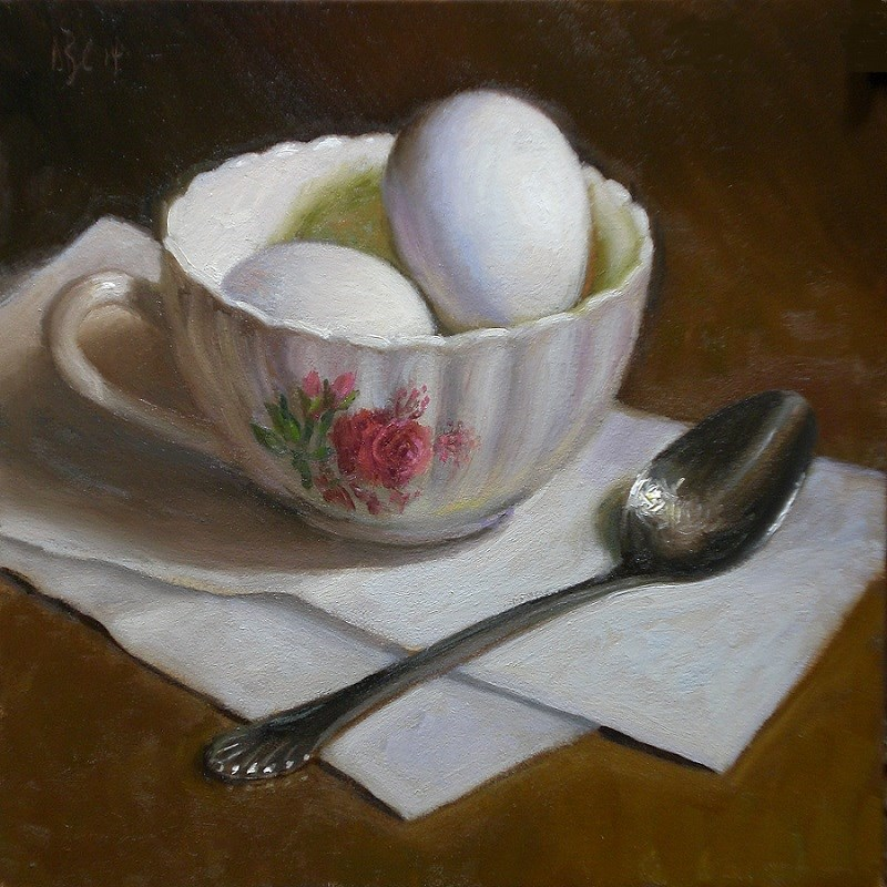 """Eggs, Cup and Spoon"" original fine art by Debra Becks Cooper"
