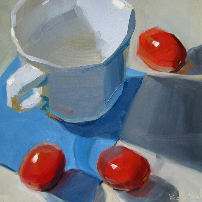 """White Cup and Cherry Tomatoes"" original fine art by Robin Rosenthal"