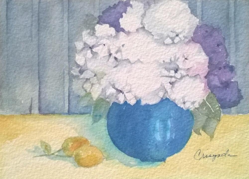 """""""Fluffy Hydrangeas"""" original fine art by Crisynda Buss"""