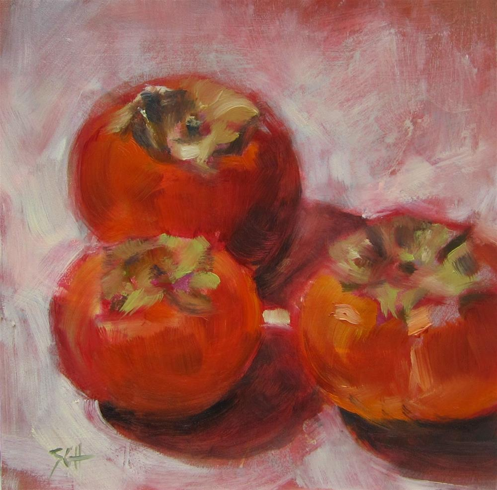 """persimmons"" original fine art by Sandy Haynes"
