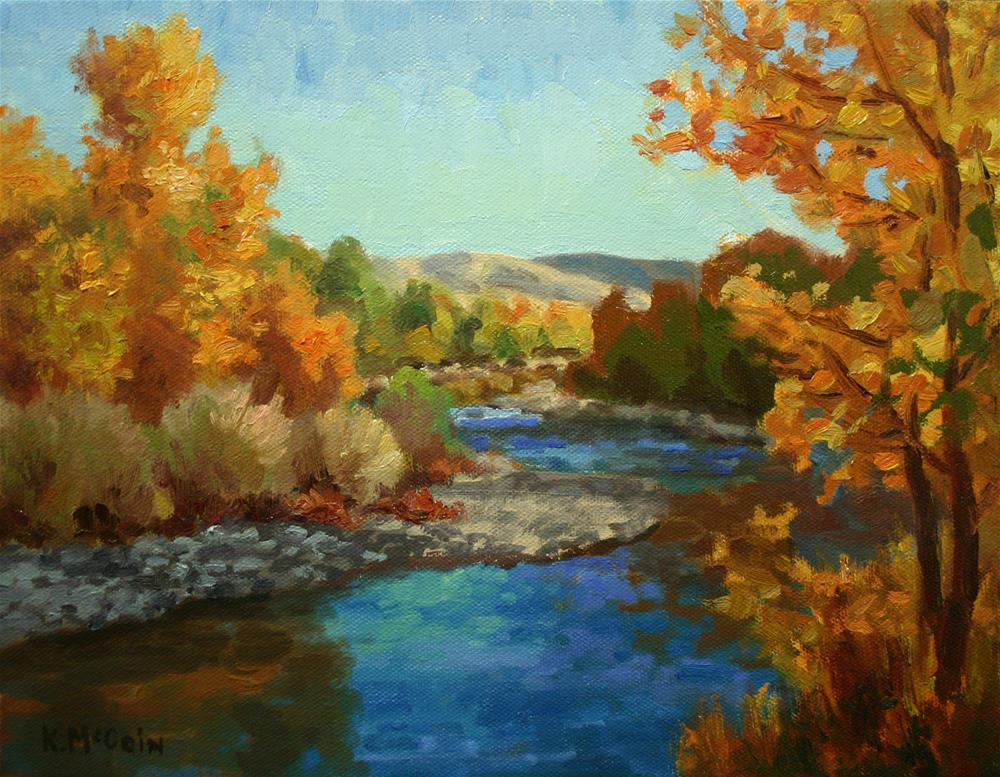 """Morning on the River in Fall"" original fine art by K.R. McCain"