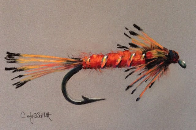 """Fly 31 - Orange Nymph"" original fine art by Cindy Gillett"