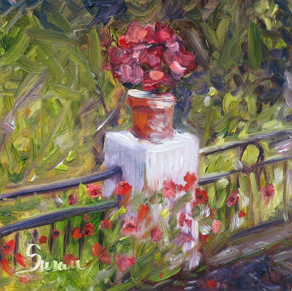 """Poppy Pedestal"" original fine art by Susan Elizabeth Jones"