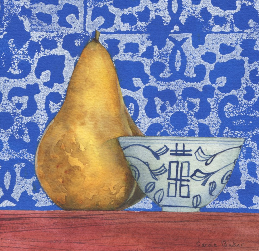 """Pear with Chinese cup"" original fine art by Carole Baker"
