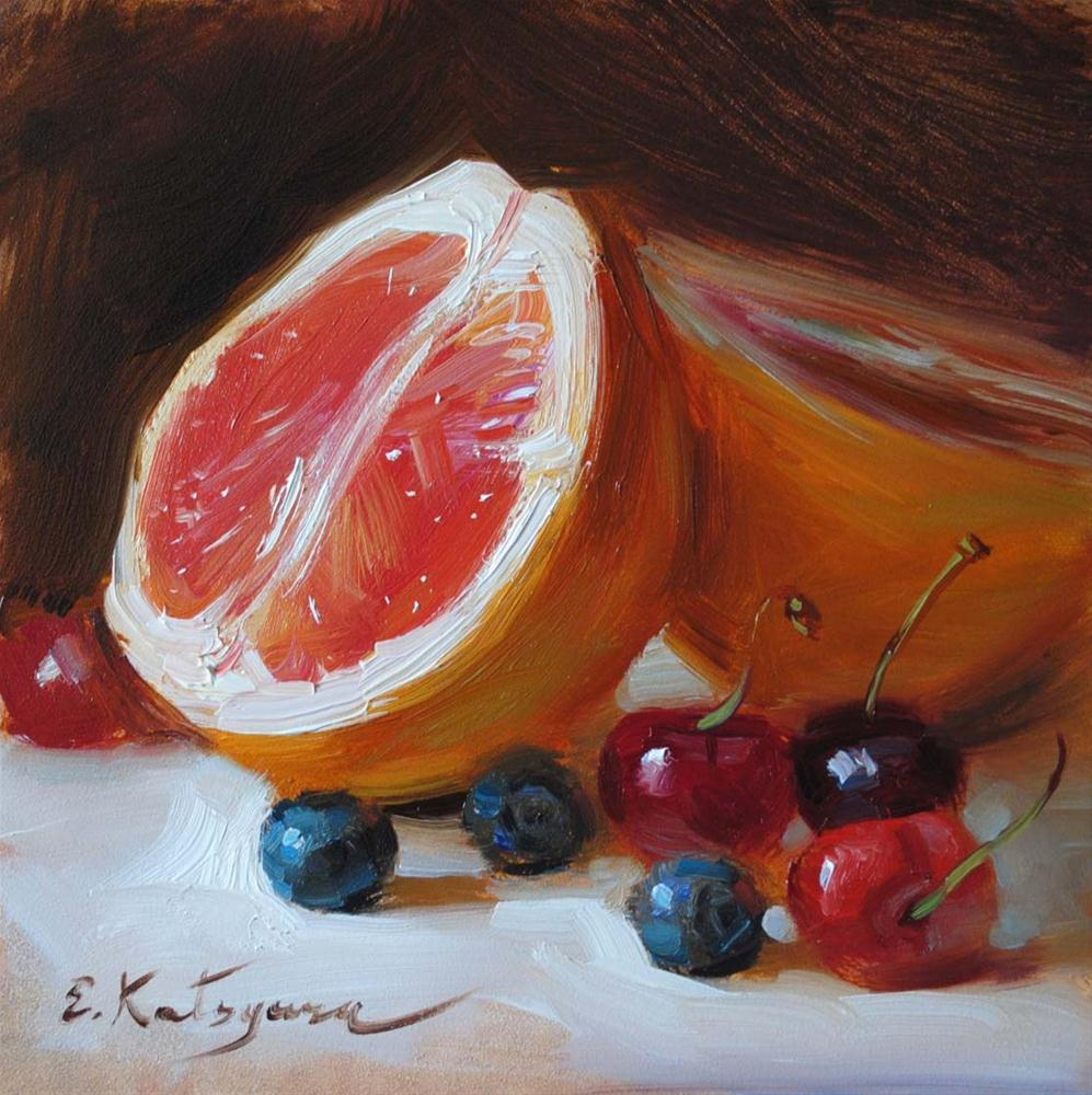 """Grapefruit and Berries"" original fine art by Elena Katsyura"