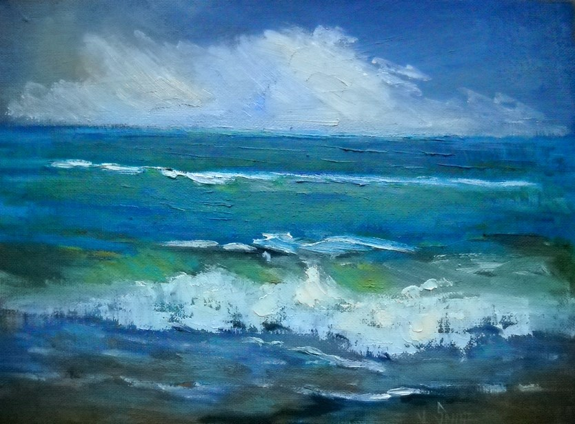 """Small Seascape, Daily Painting, Small Oil Painting, Offshore Storm by Carol Schiff, 9x12 Oil"" original fine art by Carol Schiff"
