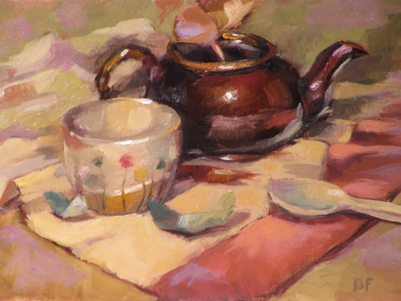 """Spot of Tea"" original fine art by Dave Froude"