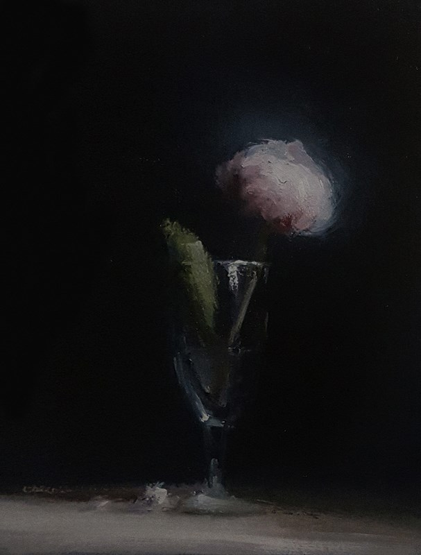 """Peony Bud with Leaf"" original fine art by Neil Carroll"