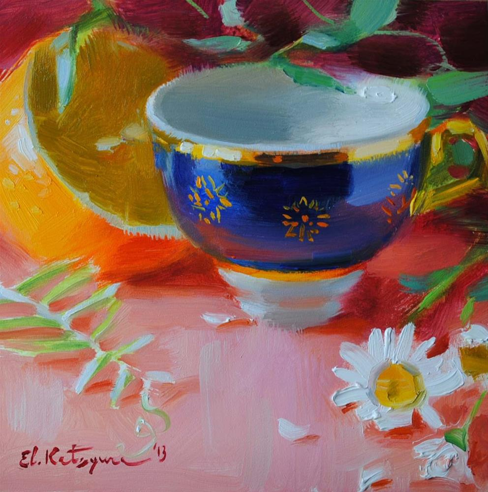 """Blue Teacup"" original fine art by Elena Katsyura"