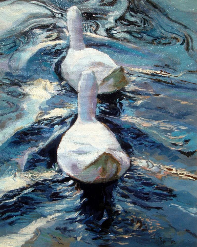 """Ducks swimming"" original fine art by Víctor Tristante"