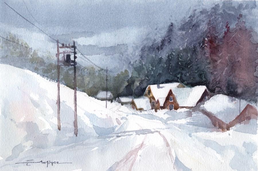 """""""snowy 14"""" original fine art by Emilio López"""