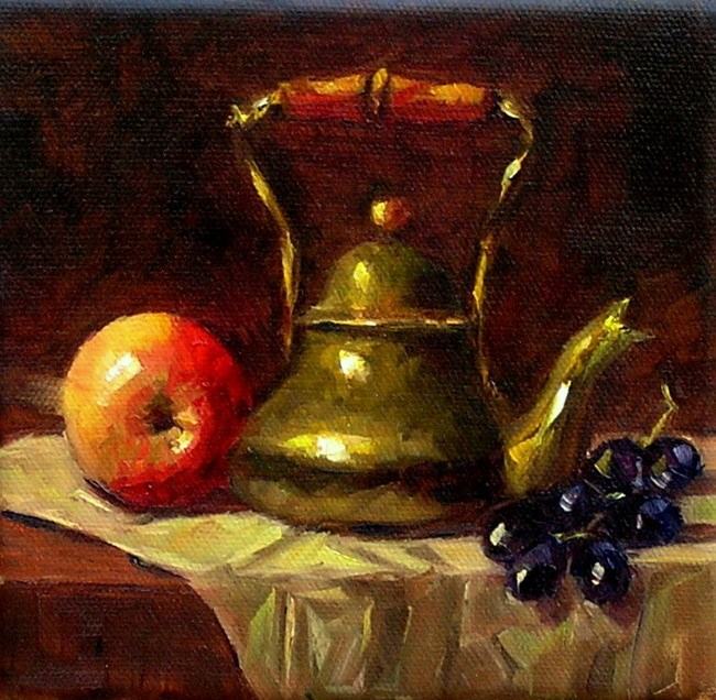 """Still Life with a Brass Kettle"" original fine art by Irina Beskina"