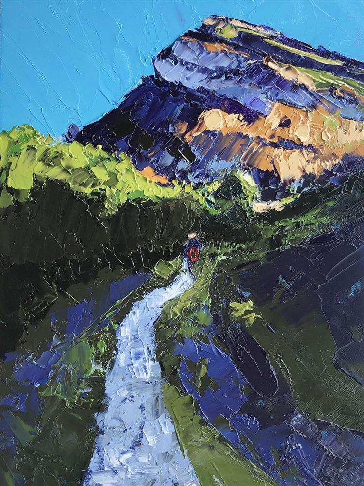"""Purple Mountain Cliff Walk"" original fine art by Leslie Miller"