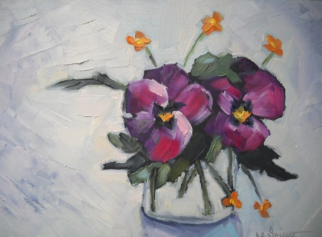 """Pansy Painting, Flower Painting, Daily Painting, Small Oil Painting, Perky Pansies by Carol Schiff"" original fine art by Carol Schiff"