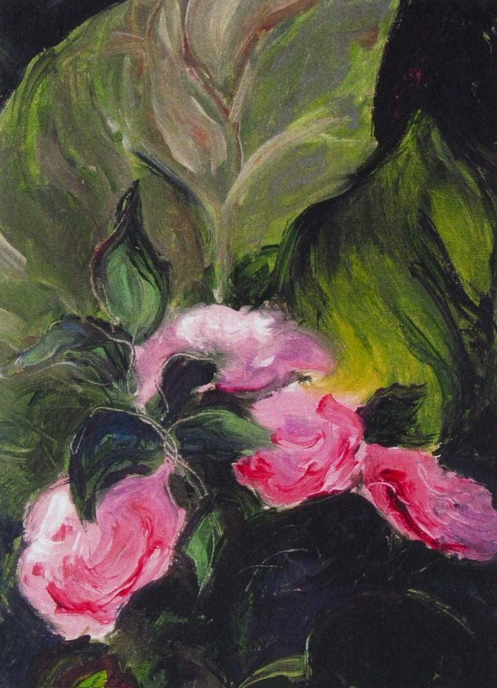 Fairy Roses and Nicotania Leaf original fine art by Lynne Schulte