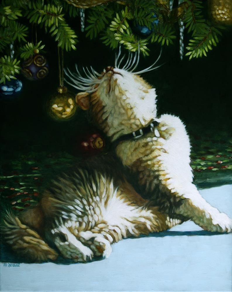 """Christmas Kitty"" original fine art by Margaret Horvat"
