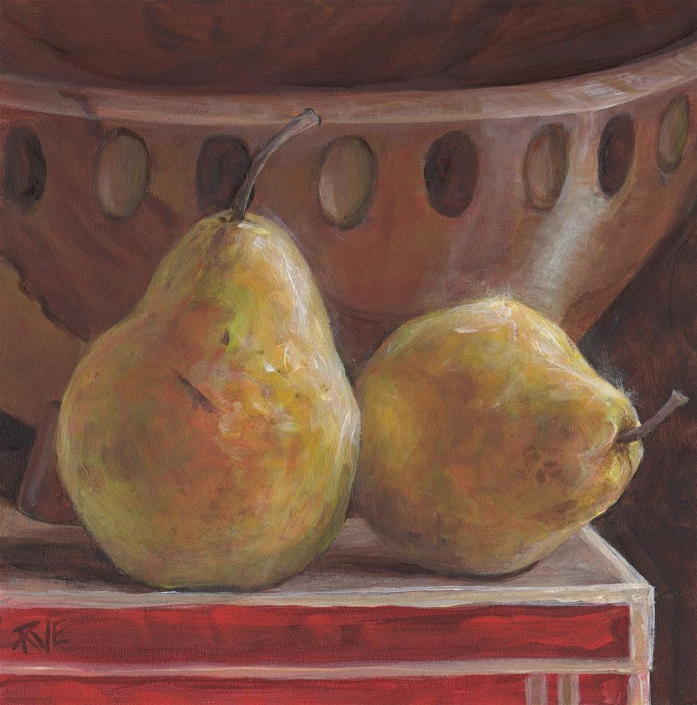 """#94  Two pears and maple bowl"" original fine art by Ruth Van Egmond"
