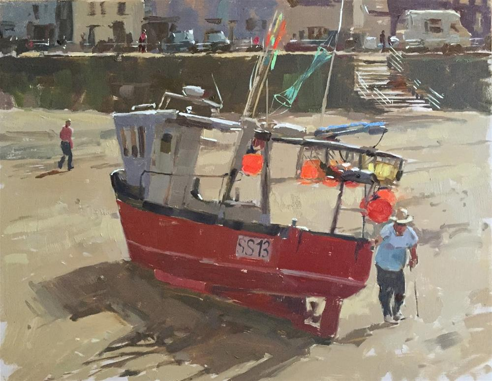"""Fishing boat at Staithes"" original fine art by Haidee-Jo Summers"