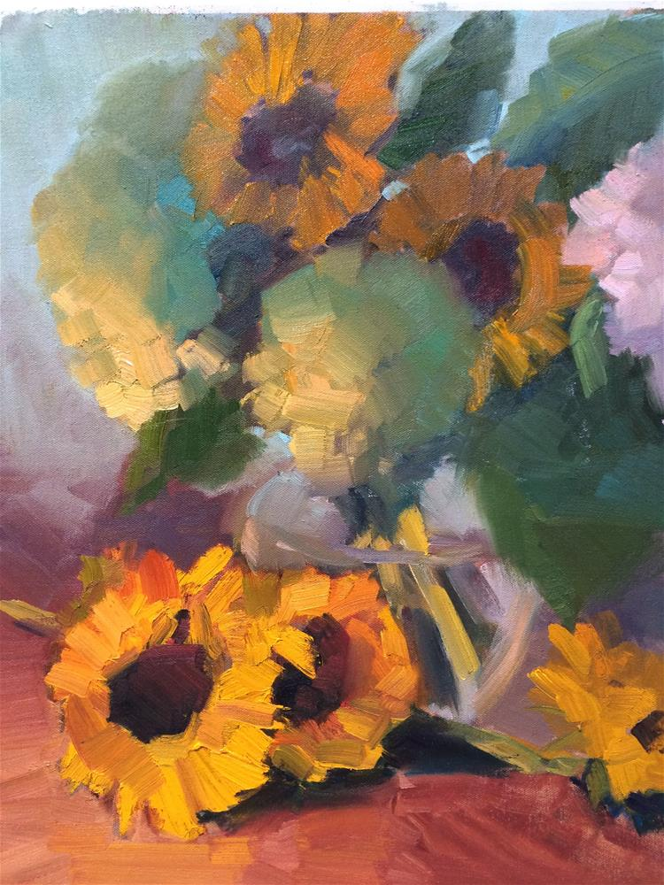 """Sun Flowers and Hydrangeas"" original fine art by Naomi Bautista"