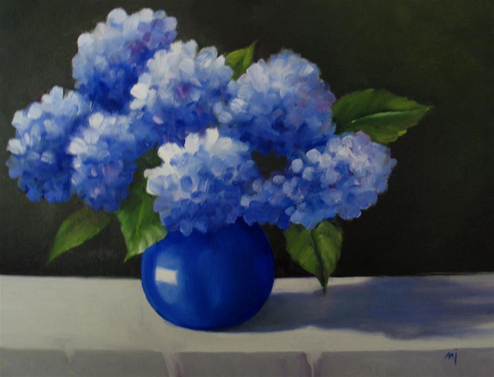 """Hydrangeas in Blue Vase"" original fine art by Nel Jansen"