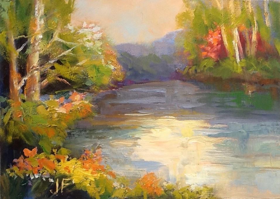 """Tranquil Lake"" original fine art by Jean Fitzgerald"