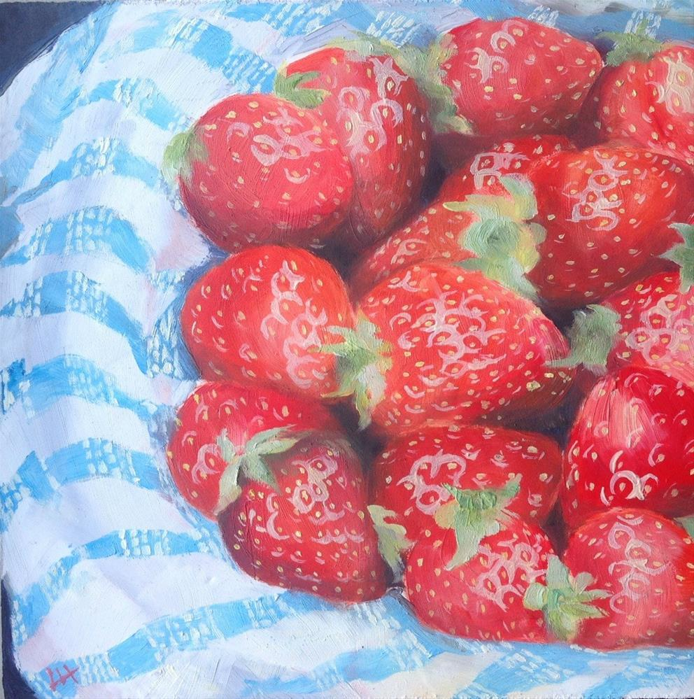 """Strawberries and blue"" original fine art by Hui (Hue) Li"